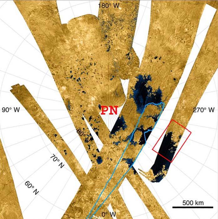 Mosaïque des bandes radar couvrant la région du pôle Nord de Titan, satellite de Saturne