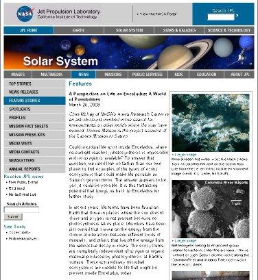 """Le début du """"Nasa News"""" évoquant «un monde de possibilités» quant à une vie sur Encelade et sur les autres satellites de Saturne"""