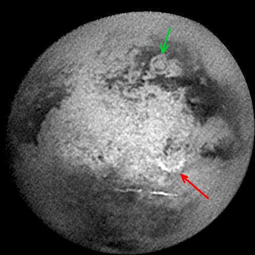 Image Infra rouge du globe de Titan, vu lors du survol de décembre 2004