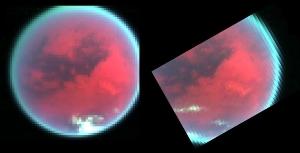 Changement d'aspects des nuages polaires de glaces de méthane entre le 26 octobre (à gauche) et le 13 décembre (à droite), Titan