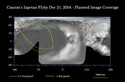 Planisphère de Japet élaboré avec les meilleures images avant ce survol du 31 décembre-1er janvier 2005