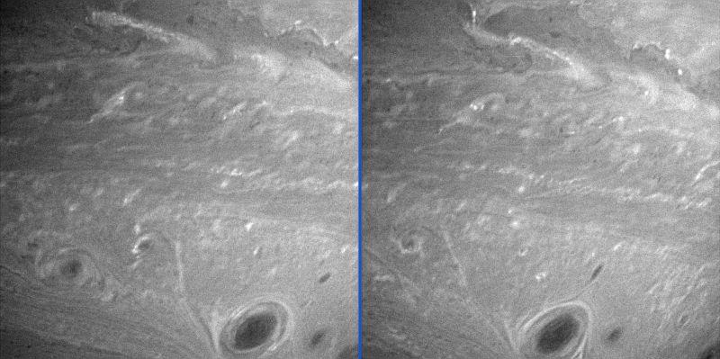 Changement dans la turbulence au pôle Sud de Saturne