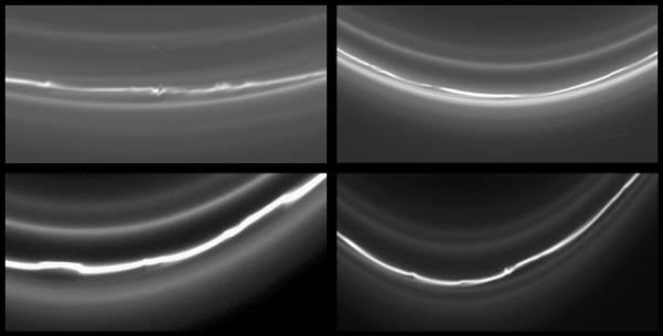 L'anneau F de Saturne et de ses déformations