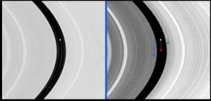 Image de la division de Encke au moment du passage du satellite Pan (point blanc)