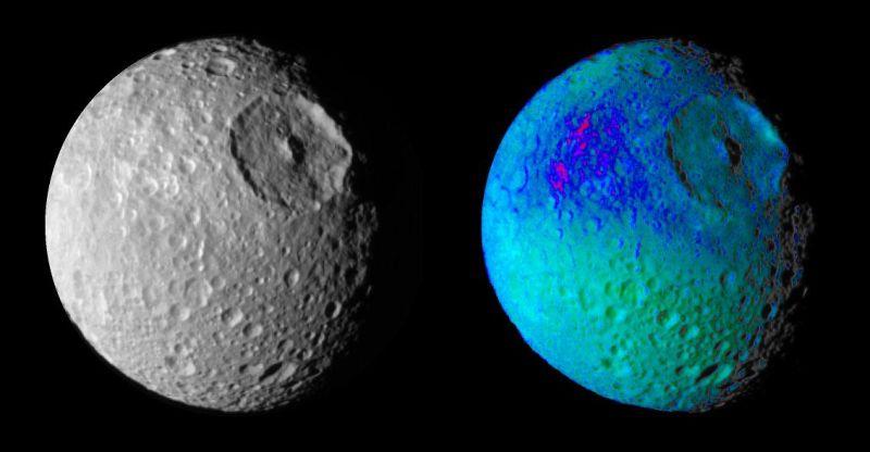 Image vraies et fausses couleurs de Mimas