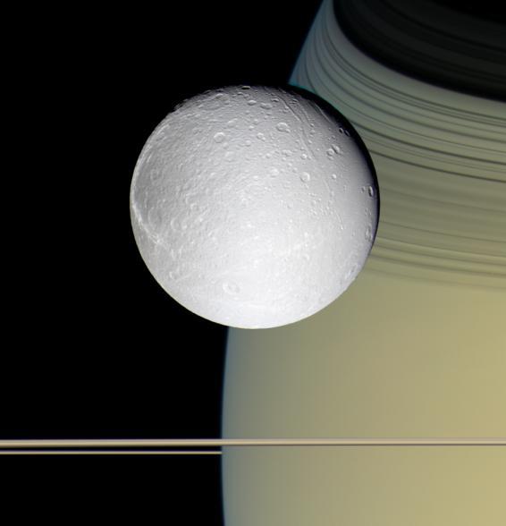 """Dioné, Saturne """"rayé"""" par l'ombre des anneaux, et les anneaux vus par la tranche"""