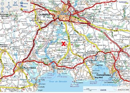 Localisation du granite, carte routière