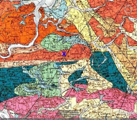 Localisation du granite, carte géologique