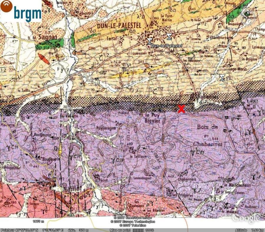 Dun le Palestel, carte géologique