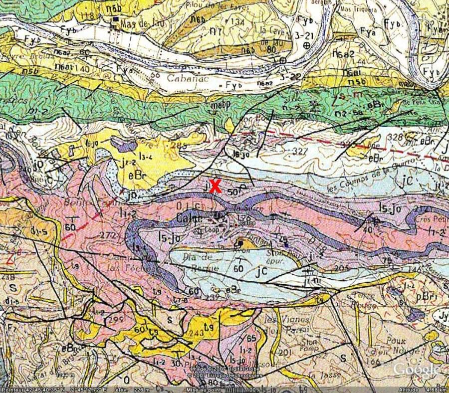 Calce, carte géologique