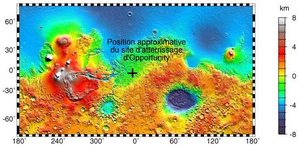 Carte topographique de Mars avec la localisation approximative du site d'atterrissage d'Opportunity