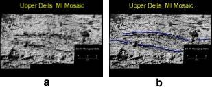 Stratifications entrecroisées sur la roche martienne nommée Upper Dells, avec interprétation