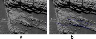Stratifications entrecroisées sur la roche martienne nommée Last Chance, avec interprétation