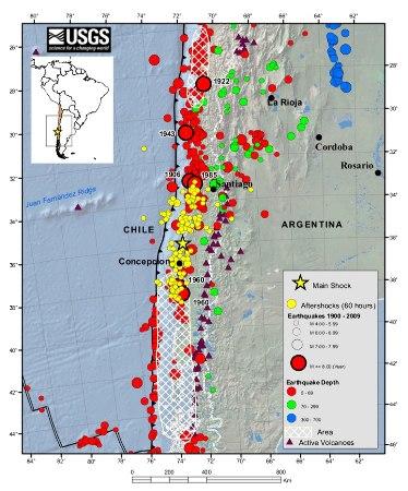 Le séisme du 27/02/2010 au large du Chili, replacé dans son contexte historique