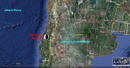 Localisation de l'épicentre du séisme du 27/02/2010 au large du Chili