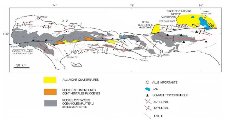 La faille Enriquillo-Plantain Gardendans sa partie orientale, au travers de l'ensemble de la Presqu'île du Sud d'Haïti