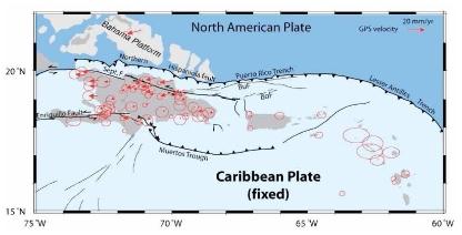 Déplacement mesuré de stations GPS, en considérant la plaque Caraïbes fixe