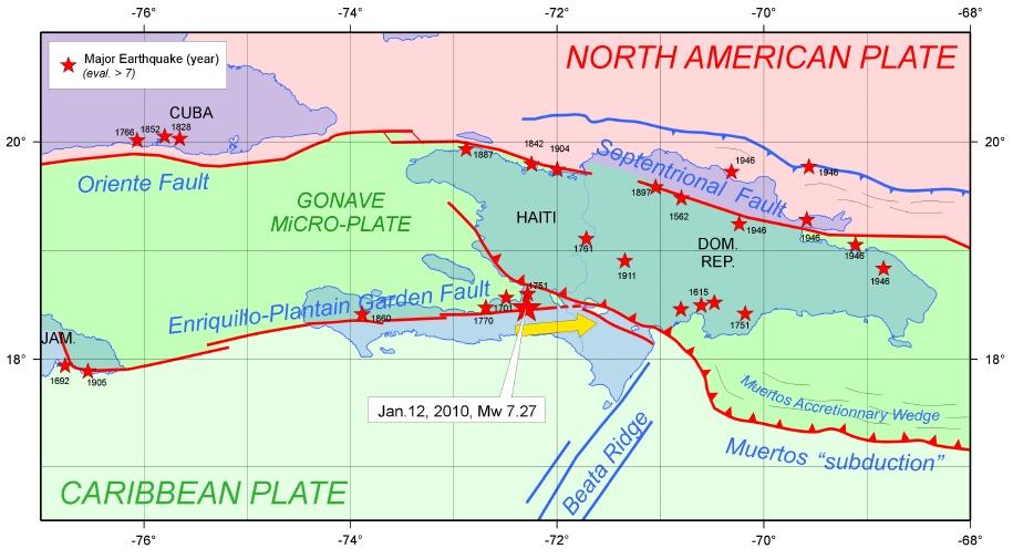 Cadre géodynamique détaillé de l'île d'Hispaniola