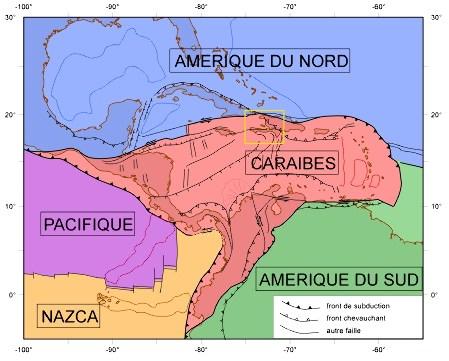 La plaque tectonique Caraïbes et les plaques voisines