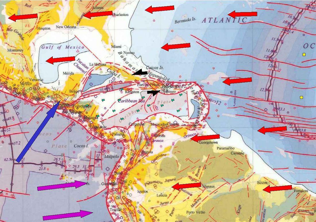 Mouvements absolus des plaques tectoniques dans la région Caraïbe