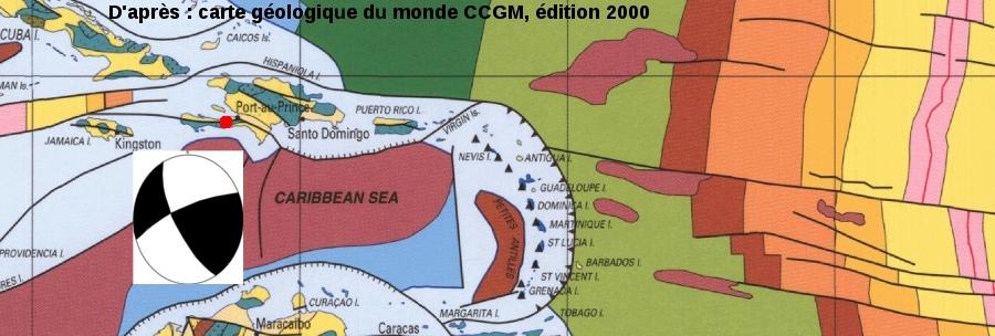 Localisation de l'épicentre du séisme du 12/01/2010 d'Haïti sur l'île d'Hispaniola