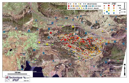 Position (sur image satellite) des zones de dégâts ayant permis d'établir des cartes d'isoséistes pour le séisme de Lambesc de juin 1909
