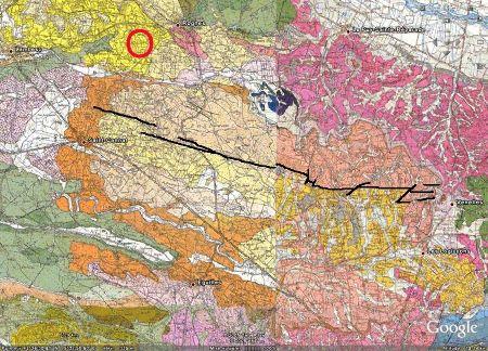 Montage des cartes géologiques des lieux où l'intensité du séisme de Lambesc de 1909 fut maximale