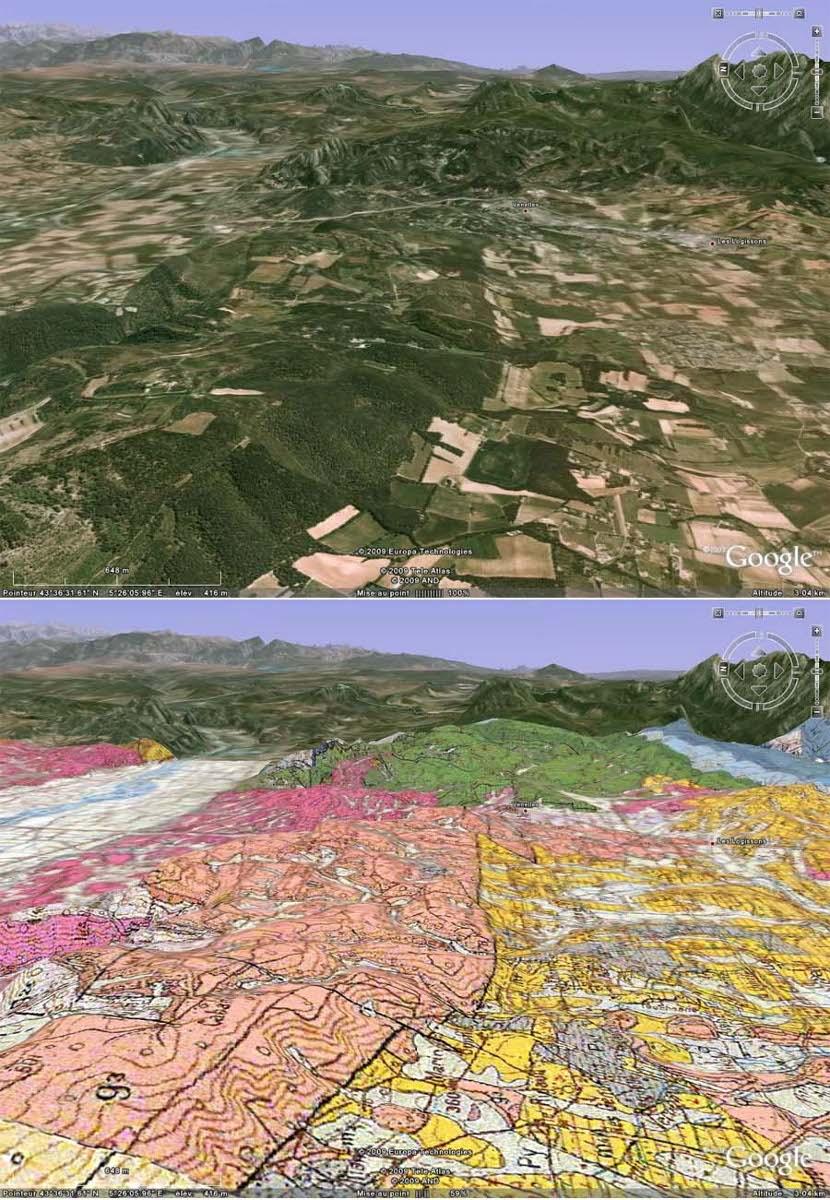 Gros plan sur la partie orientale de la faille de la Trévaresse (au centre des images), en vue oblique avec carte géologique