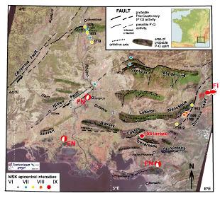 Carte des objets et événements tectoniques quaternaires de Provence