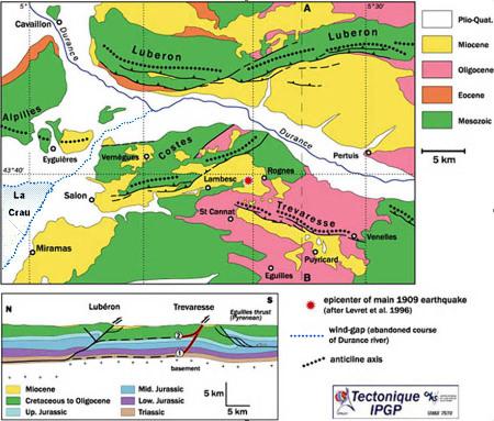 Carte et coupe géologiques et tectoniques synthétiques résumant le contexte du séisme de Lambesc (1909)
