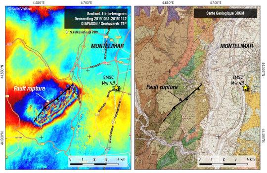 Interférométrie radar et localisation de la faille de rupture du 11/11/2019
