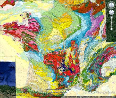 Localisation du séisme du Teil, 11 novembre 2019 sur fond géologique de la carte de France