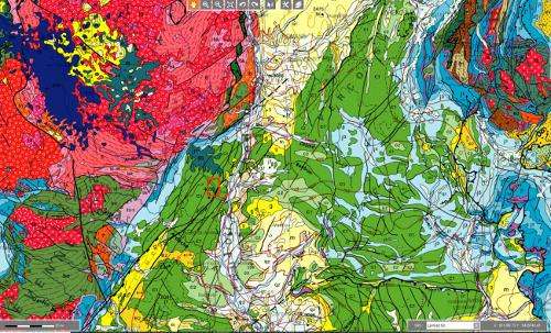 Localisation régionale du séisme du Teil, 11 novembre 2019 sur fond géologique de la carte de France au millionième