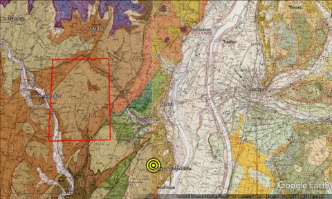 Localisation du séisme du Teil, 11 novembre 2019, à l'Est de Montélimar, sur fond de carte géologique au 1/50000