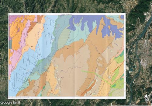 Schéma structural de la carte géologique d'Aubenas sur fond d'image satellite