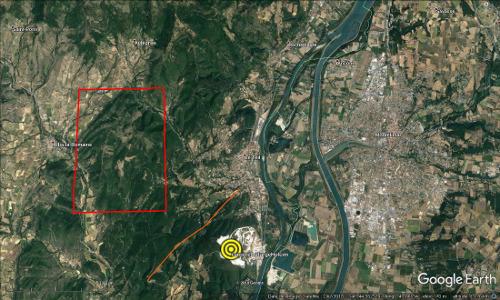Localisation du séisme du Teil, 11 novembre 2019, à l'Est de Montélimar
