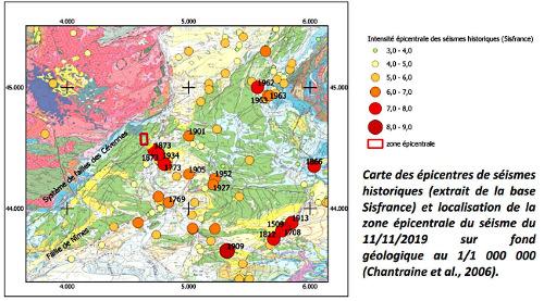 """Sismicité historique de la région de Montélimar, localisation """"rapide"""" (cadre rouge) de la zone épicentrale déterminée juste après le séisme du 11 novembre 2019, et zone de rupture déterminée par intérférométrie radar (trait jaune)"""