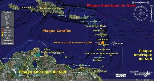 Localisation des Antilles et de l'épicentre du séisme du 29/11/2007