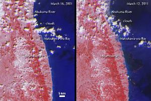 La côte Est de Honshu en 2001 et en 2011, juste après le tsunami du 11 mars 2011