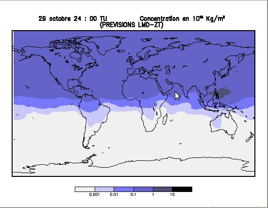 Simulation de la propagation du nuage radioactif de Tokaimura, octobre 1999