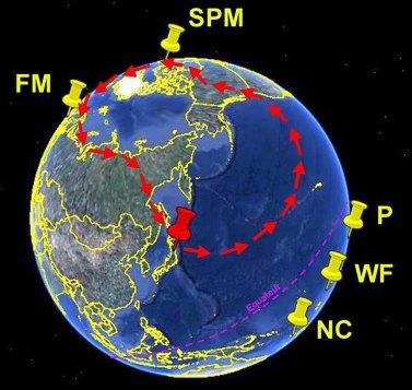 Carte des vents en mars et position de quelques territoires français