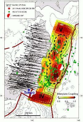 Cartographie de l'intensité du couplage entre la lithosphère Pacifique et la lithosphère «japonaise» avant le séisme du 11 mars 2011