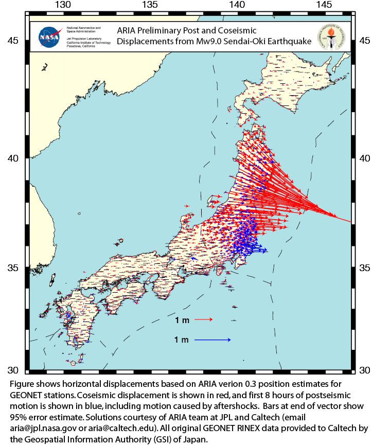 Déplacements horizontaux liés au séisme de Sendai