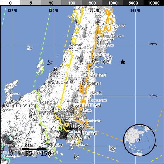 Cartes des iso-intensités, séisme de Sendai, 11 mars 2011