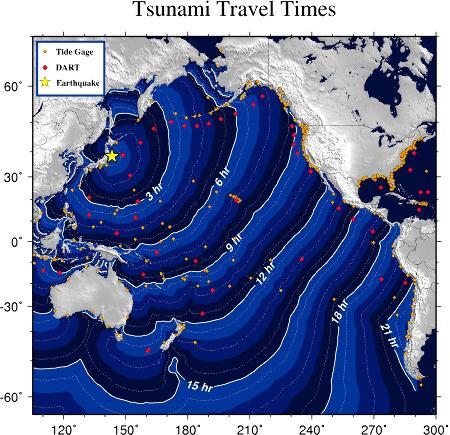 Carte de la propagation du tsunami du 11 mars 2011 dans le Pacifique