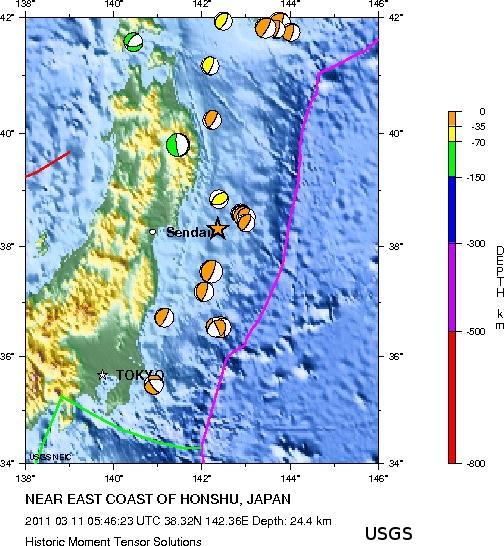Sismicité récente au large de Honshu (Japon)