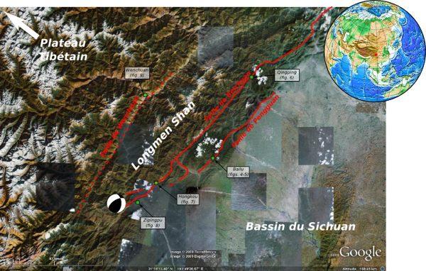 Carte de situation de la région des Longmen Shan