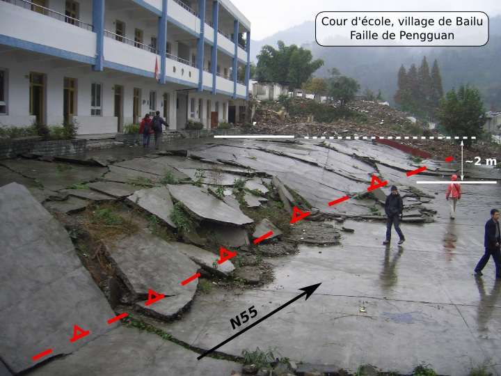 Trace de la rupture sur la faille à jeu inverse de Pengguan au travers d'une cour d'école dans le village de Bailu