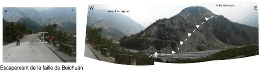 Rupture au niveau de la partie Nord-Est de la faille de Beichuan