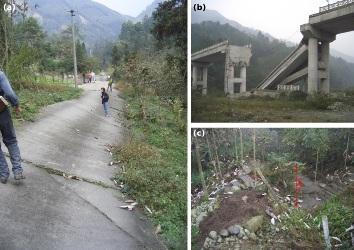 Exemples de manifestations de la rupture sur la partie Sud de la faille de Beichuan